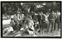 Group portrait of men under a tree, Rancho Santa Anita