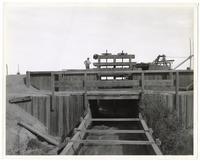 Man standing atop a small wooden dam, circa 1909