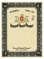 Blank brandy label, Italian Swiss Colony, Asti