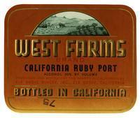 West Farms Brand California ruby port, Elk Grove Winery, Elk Grove