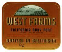 West Farms Brand California ruby port, Elk Grove Winery, Elk Grove
