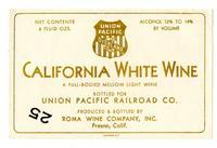 Union Pacific California white wine, Roma Wine Company, Inc., Fresno