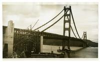Golden Gate Bridge construction, view of span from San Francisco