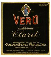 Vero California claret, Golden State Wines, Inc., San Francisco