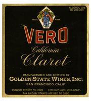 Vero California claret, Golden State Wines, Inc., San Francisco