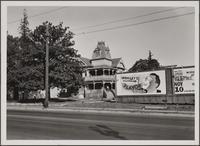 Fair Oaks Avenue, east side from south of Eureka Street house on 90th Street, Pasadena; showing Wrigley's gum billboard