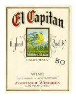 El Capitan California wine, Associated Wineries, San Francisco