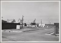 Long Beach harbor from West 1st Street and Santa Clara Avenue, looking northwest