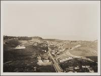 Looking north-northeast from hilltop of White Knoll Dr. toward Mexican settlement and Elysian Park; Paducah St. in foreground