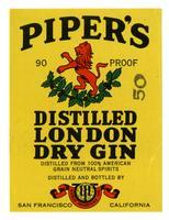 Piper's distilled London dry gin, World Importers, San Francisco