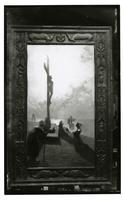 Photograph of painting by Charles Rollo Peters of statue of the Crucifixion, Rancho Santa Anita