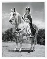 Linda Whitson, Queen of All Arabian Horse Show, with her purebreed Arabian, Ta-Zhe, El Sobrante, California