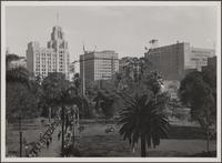 Looking across Pershing Square from 6th and Olive Streets