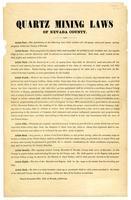 Quartz mining laws of Nevada County.