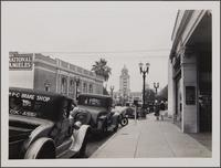 Beverly Hills, looking up Santa Monica Blvd toward city hall; Security First National Bank in left foreground toward northeast
